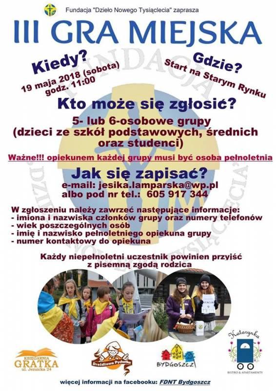 """III Bydgoska Gra Miejska """"Święci w Bydgoszczy"""""""