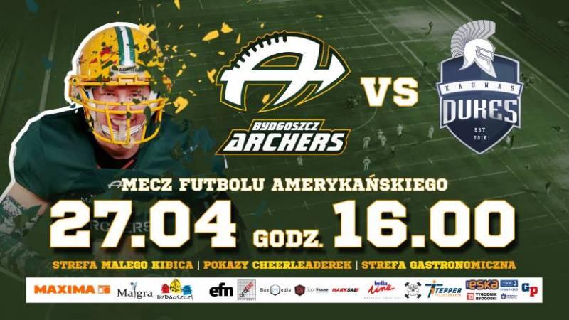 Futbol Amerykański: Bydgoszcz Archers - Dukes Kowno - Europejska Super Liga