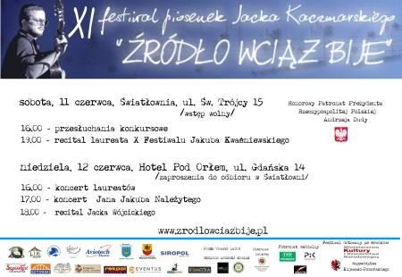 """XI Festiwal Piosenek Jacka Kaczmarskiego """"Żródło wciąż bije"""""""